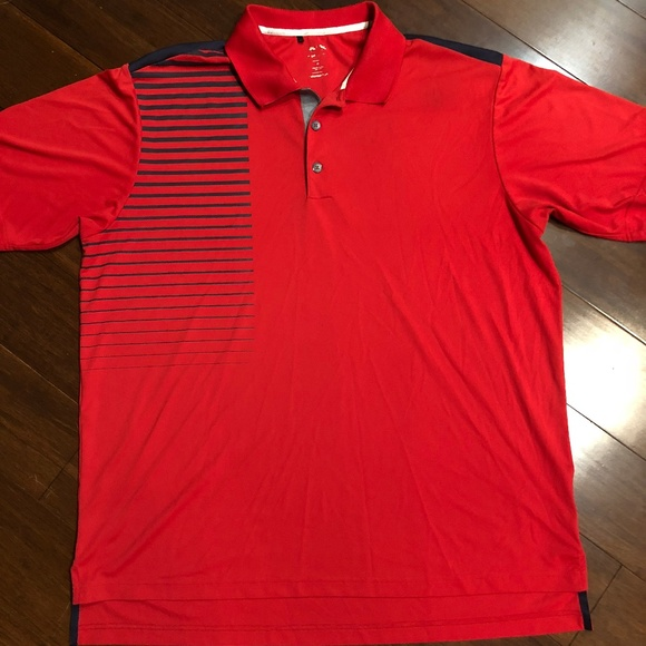 info for on wholesale great fit Adidas Climacool XL Red Black Striped Polo